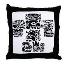 teoti-mayan-front-black-chopped Throw Pillow