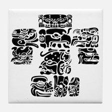 teoti-mayan-front-black-chopped Tile Coaster