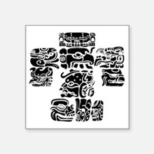 "teoti-mayan-front-black-cho Square Sticker 3"" x 3"""