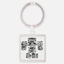teoti-mayan-front-black-chopped Square Keychain