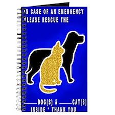 Cat  Dog Emergency Sticker blue Journal