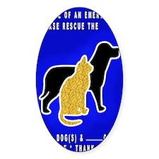 Cat  Dog Emergency Sticker blue Decal