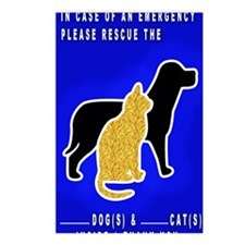 Cat  Dog Emergency Sticke Postcards (Package of 8)