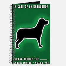 Dog Emergency Sticker Green Journal