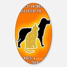 Cat  Dog Emergency Sticker Orange Decal