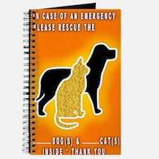 Cat  Dog Emergency Sticker Orange Journal