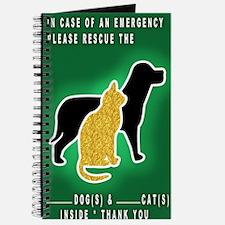 Cat  Dog Emergency Sticker Green Journal