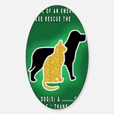 Cat  Dog Emergency Sticker Green Decal