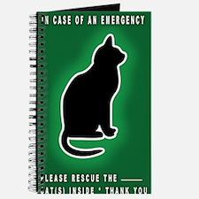 Cat Emergency Sticker Green Journal