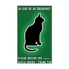 Cat Emergency Sticker Green Rectangle Car Magnet