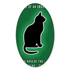 Cat Emergency Sticker Green Decal