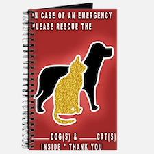 Cat  Dog Emergency Sticker Red Journal