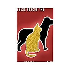 Cat  Dog Emergency Sticker Red Rectangle Magnet