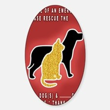 Cat  Dog Emergency Sticker Red Decal