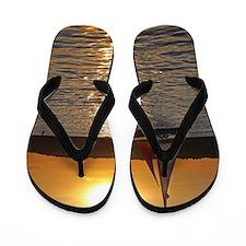 sunsetsailboatminiposter Flip Flops