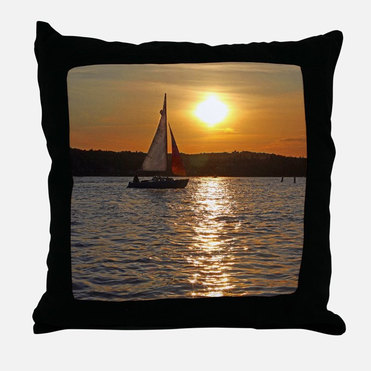 sunsetsailboatmouse Throw Pillow