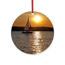 sunsetsailboatmouse Round Ornament