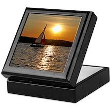 sunsetsailboatnessenger Keepsake Box