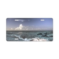 Dolphins In The Surf Aluminum License Plate