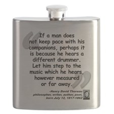 Thoreau Drummer Quote Flask