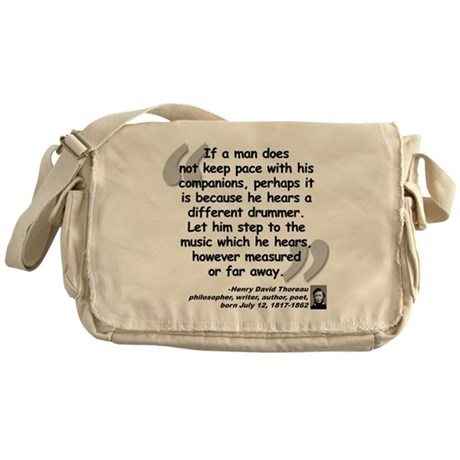 Thoreau Drummer Quote Messenger Bag