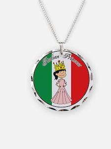 Italian Princess Shirt Necklace Circle Charm