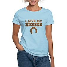 I love my horses with a horseshoe T-Shirt