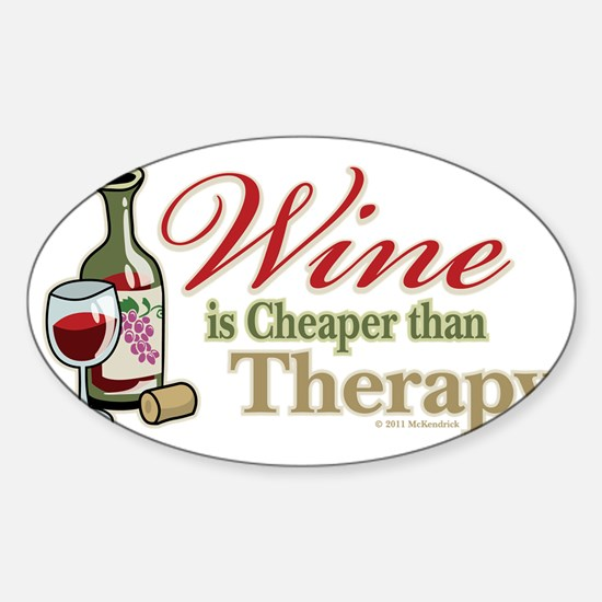 Wine-Cheaper-Than-Therapy Sticker (Oval)