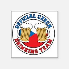 "Official Czech Drinking Tea Square Sticker 3"" x 3"""