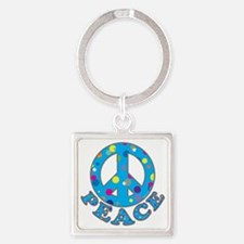 Polka Peace-1 Square Keychain
