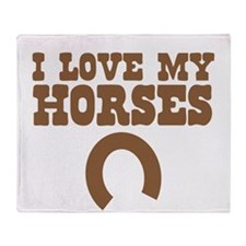 I love my horses with a horseshoe Throw Blanket