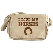 I love my horses with a horseshoe Messenger Bag