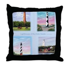 Lighthouses Outer Banks tall Throw Pillow