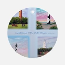 Lighthouses Outer Banks tall Round Ornament