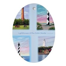 Lighthouses Outer Banks tall Oval Ornament