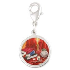 Read. Knit. Love. Silver Round Charm