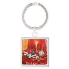 Read. Knit. Love. Square Keychain