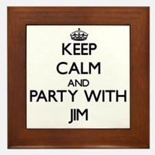 Keep Calm and Party with Jim Framed Tile