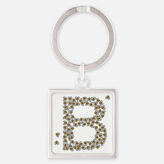 B (made of bees) Square Keychain