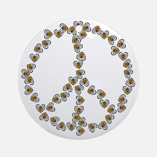 Bees Peace Sign Round Ornament