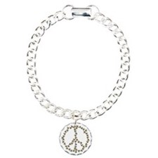Bees Peace Sign Charm Bracelet, One Charm