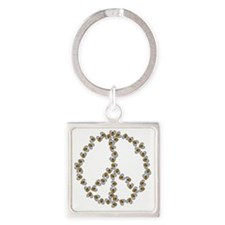 Bees Peace Sign Square Keychain