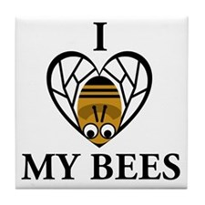 I Love My Bees Tile Coaster