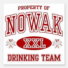 """Nowak Polish Drinking Te Square Car Magnet 3"""" x 3"""""""