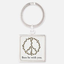 Bees be with you (Peace) Square Keychain