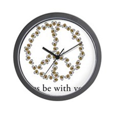 Bees be with you (Peace) Wall Clock