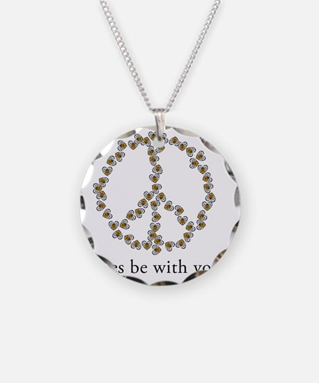 Bees be with you (Peace) Necklace Circle Charm