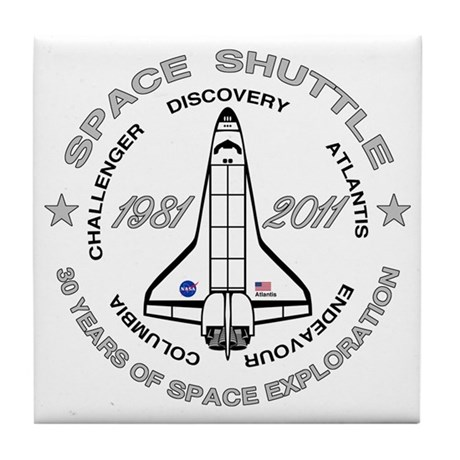 Space Shuttle_cafepress_2_dark Tile Coaster