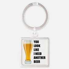 Another beer zwart Square Keychain