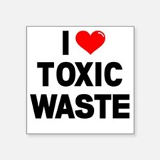 "I-Heart-Toxic-Waste-Marked Square Sticker 3"" x 3"""